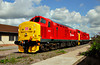 In July 2009 DBS repainted 37419 and 37670 into the new DB red livery. The pair are seen at Toton.<br /> © Photo copyright DB Schenker.