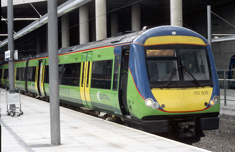 170508 in Central Trains livery at Stanstead Airport.<br /> © Photo copyright Bombardier.