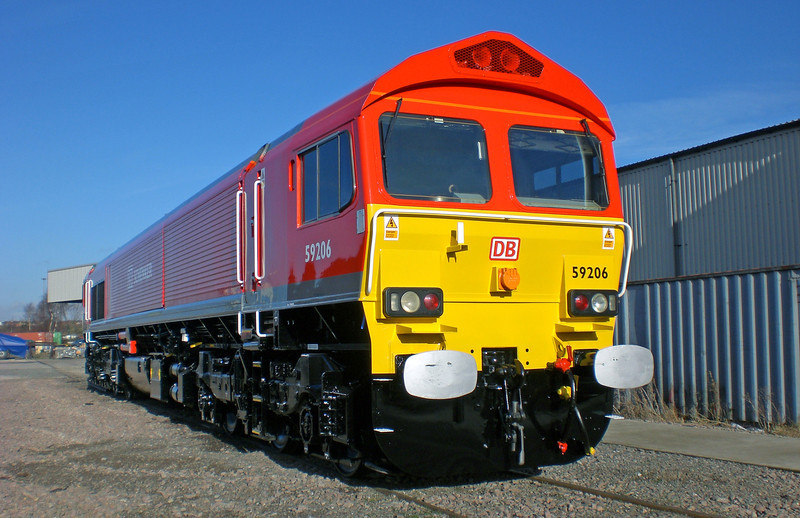 59206 'John F Yeoman' was the first of its class to carry DB red livery, as seen at Toton on  21st January 2009. <br /> © Photo copyright DB Schenker.
