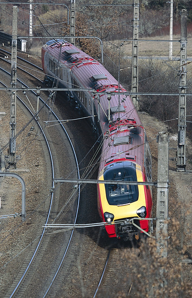 A promotional picture to illustrate the tilting features of a class 221.<br /> © Photo copyright Bombardier.