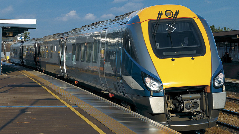 Midland Mainline introduced the first of 23 Class 222 units on 31 May 2004, branding them Meridian. One of these is shown at Bedford when new.<br /> © Photo copyright Bombardier.