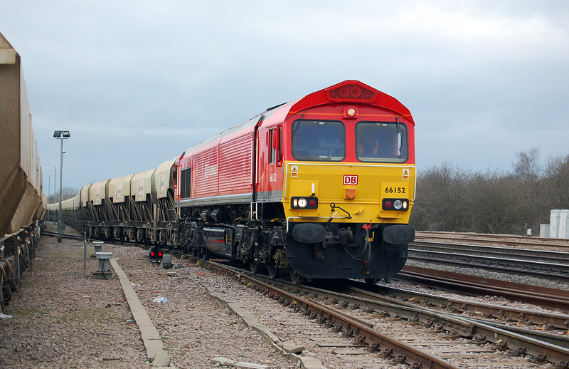 66152 was the first class 66 to appear in DB red livery, as seen at Barrow Upon Soar on 25th February 2009.<br /> © Photo copyright DB Schenker.