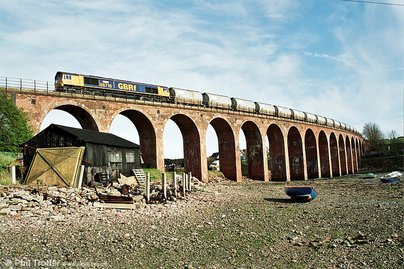 66716 'Willesden Traincare Centre' crosses the viaduct at Rossie Island, Montrose. <br /> © Photo copyright GBRf.