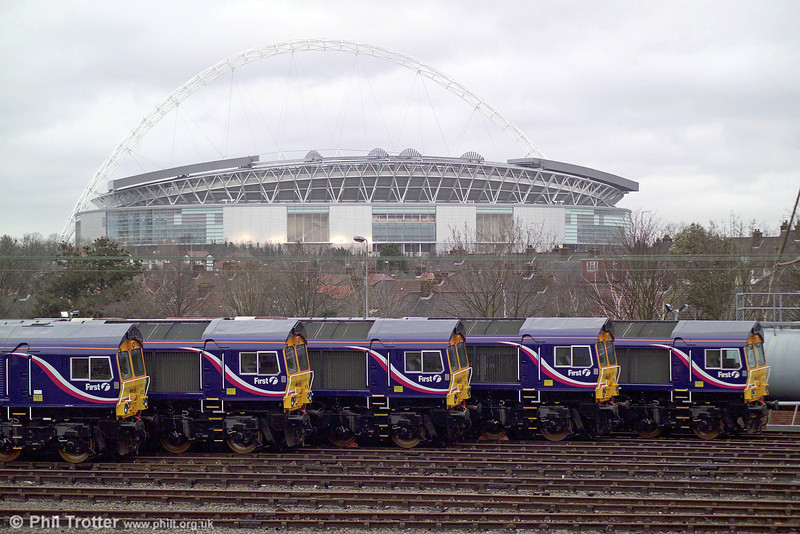 All five First liveried GBRf Class 66/7s Nos. 66723 - 66727 stand outside Alstom Wembley Depot on 8 January 2007, during an official hand over.  <br /> © Photo copyright GBRf.