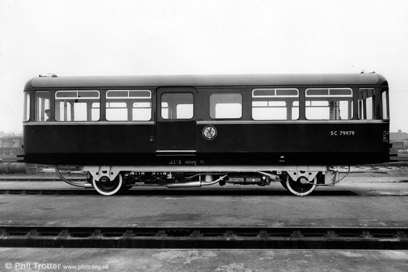 SC79979, one of the A. C. Cars railbuses designed for rural branch lines. Weighing only 11 tones the unit could seat 46 passengers and had at top speed of 55mph.<br /> © Photo copyright British Railways.
