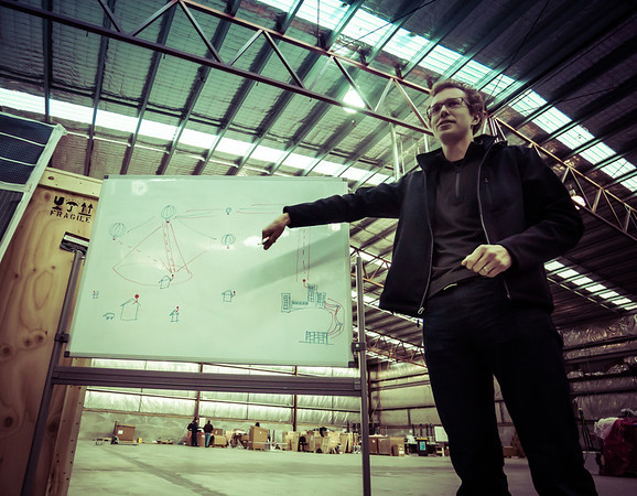 Inside the Google X NZ Warehouse, the overall plan is described in a chalk talk - - Trey Ratcliff - more onhttp://www.StuckInCustoms.com