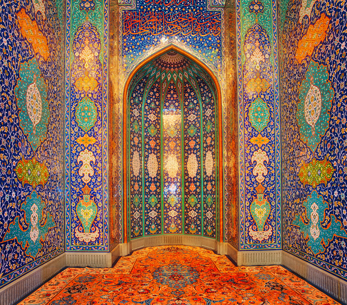 Beautiful mosaics inside the mosque in Muscat, Oman.