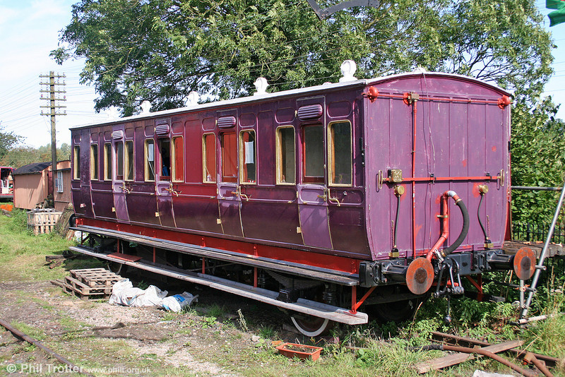 Barry Railway 163 was built in Manchester at the Ashburys Company works for the Barry Dock and Railway Company in 1895. Withdrawn by the GWR in 1928, it later became a holiday home in the Clent Hills, Worcestershire. It was recovered for restoration in 1992 and is seen in a well advanced state at Hampton Loade, SVR on 24th September 2005.