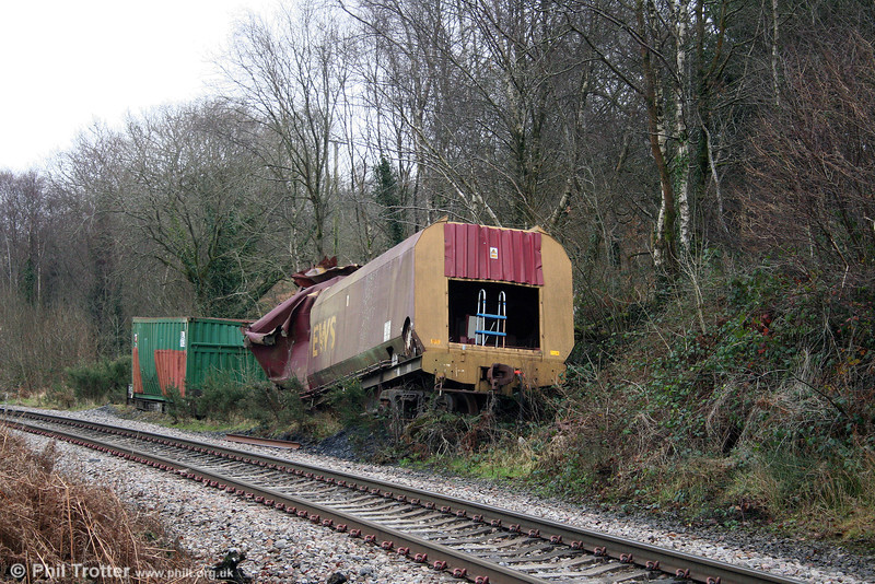 The remains of HTA 310200 and a Celtic Energy/Russells container which have lain in this position at Nant-y-Cafn Farm, near Seven Sisters on the Onllwyn Branch since a mishap several years ago.
