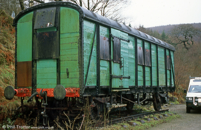 This former Southern Railway long-wheelbased parcels van was photographed at Cynonville Halt, on the former R&SB line in January 1995. It was in use for storage of bicycles for the nearby Afan Argoed Country Park. It subsequently passed into preservation at the Gwili Railway.