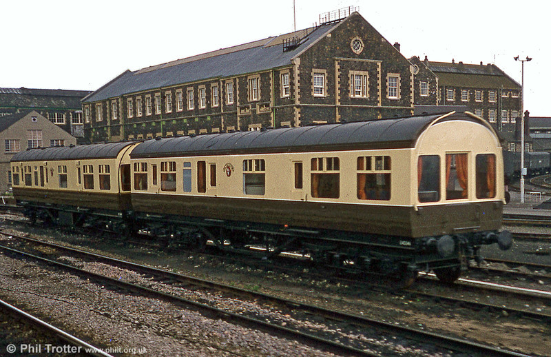 Two former LMSR District Engineer Saloons newly outshopped as camping coaches in chocolate and cream livery at Swindon on 19th April 1981. These were (left) nos. 45044 'Cardiff' and 45046 'Plymouth' which were converted at Swindon in 1981 for Dawlish Warren. Both survive in preservation, one at Rowden Mill and one at Dawlish, privately owned.