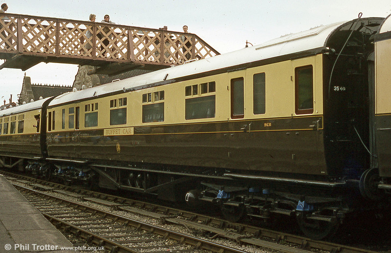 Former Great Western Railway Buffet Car no. 9631, built in 1934, pictured at Bridgnorth, SVR in July 1984. This splendid vehicle is unfortunately now on static display at the 'Steam' Museum, Swindon. During its time in service on the SVR, the 'long bar' which stretches virtually from one end of the coach to the other, was always well patronised on gala days!