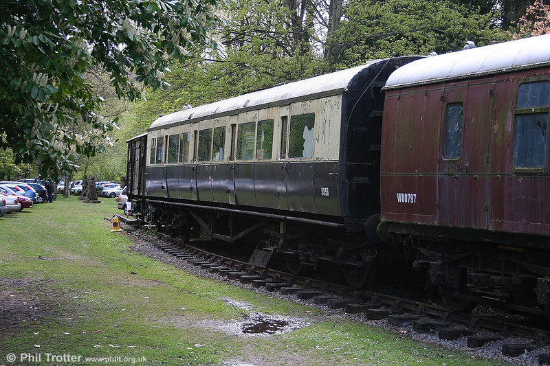 Items of rolling stock have been stabled at the site of Tintern Station to add to the railway ambience. These include 1934-built GWR third no. 5856 which was also once in BR departmental use as DW150031 and former BR Mk.1 BG W80797 (actually formerly E80797). 1st May 2006.