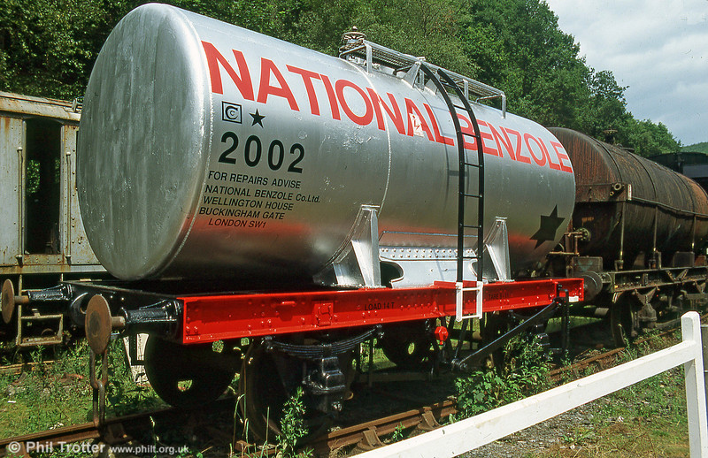 National Benzole Tank 2002 photographed after restoration at Llwyfan Cerrig, Gwili Railway in July 1995. The tank, built in 1954, came from British Petroleum at Llandarcy in 1978.