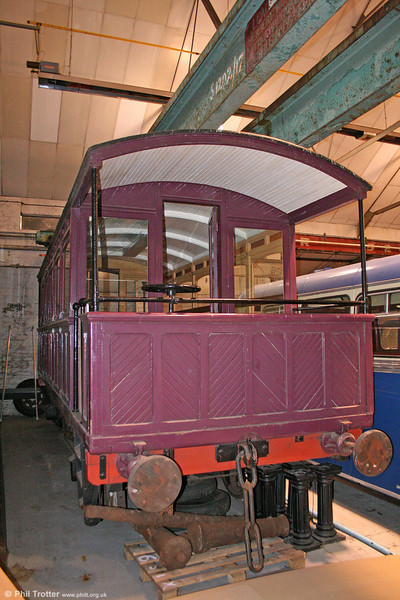 An historic vehicle which is hidden away in Swansea is this former Swansea Harbour Trust 4-wheel saloon at the Swansea Museum collections store, Landore. It was built in 1911 on a MS&LR underframe dating from 1850-60 and later was owned by the Brecon & Merthyr Railway. It entered preservation in 1969, being stored privately at Caerleon and subsequently at the erstwhile Caerphilly Railway Centre. 14th July 2010.