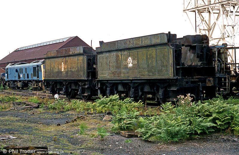 Two former GWR 4000 gallon tenders formerly in departmental use dumped at Swindon Works in the 1980s. It is believed that the tenders survived into preservation for use behind ex-Barry locomotives. (The withdrawn class 25 didn't survive!).