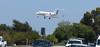 Jet landing at Long Beach Airport