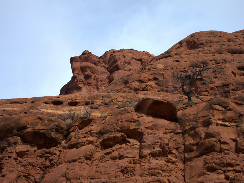 """<span id=""""title"""">Red Rock</span> Looking up at Bell Rock."""