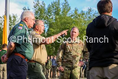 Mark Steinnett, Steve Nelson, and General David Goldfein prepare for the bell-ringing ceremony