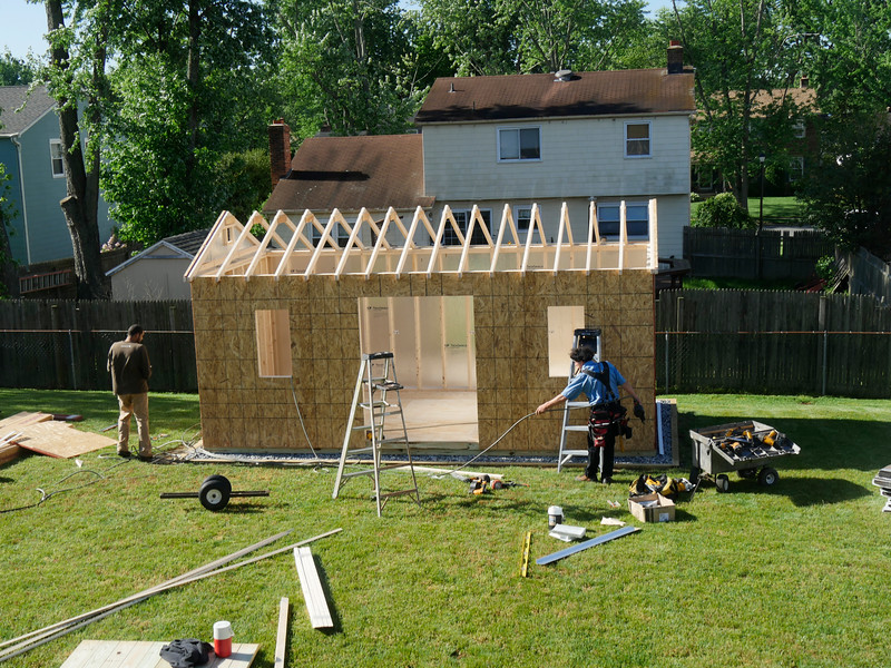 Shed construction, 08 May 2017.  Have to come back with the higher doors.  Aaron was the main guy.