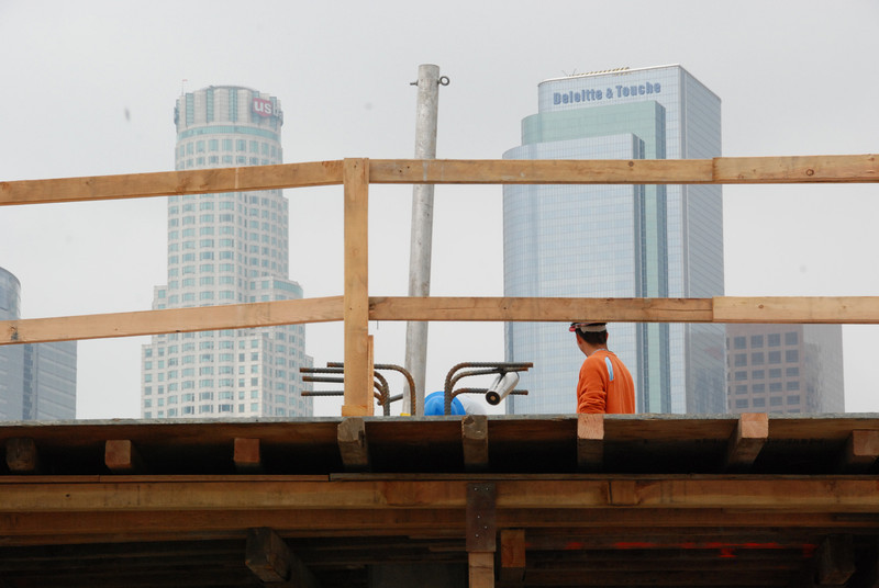 Construction with downtown LA in the background