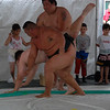 Sumo match - dude goes DOWN!