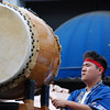 Guy playing the big taiko drum