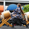 Girls playing the taiko drums