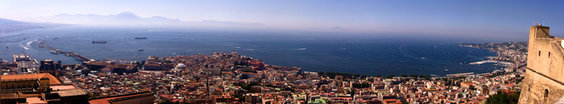 The bay of Naples. Sorrento is in the distance on the left.