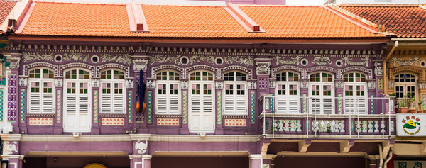 Fascade of old shop houses in Singapore