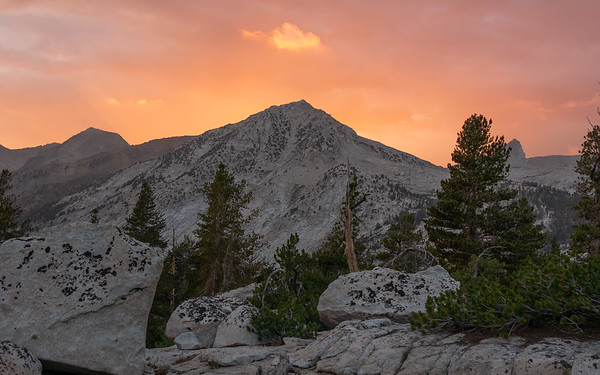 An unnamed peak above the South Fork of the Kings River, just west of Cartridge Pass, taken from near Bench Lake.  Kings Canyon National Park, California.  August 18, 2018.