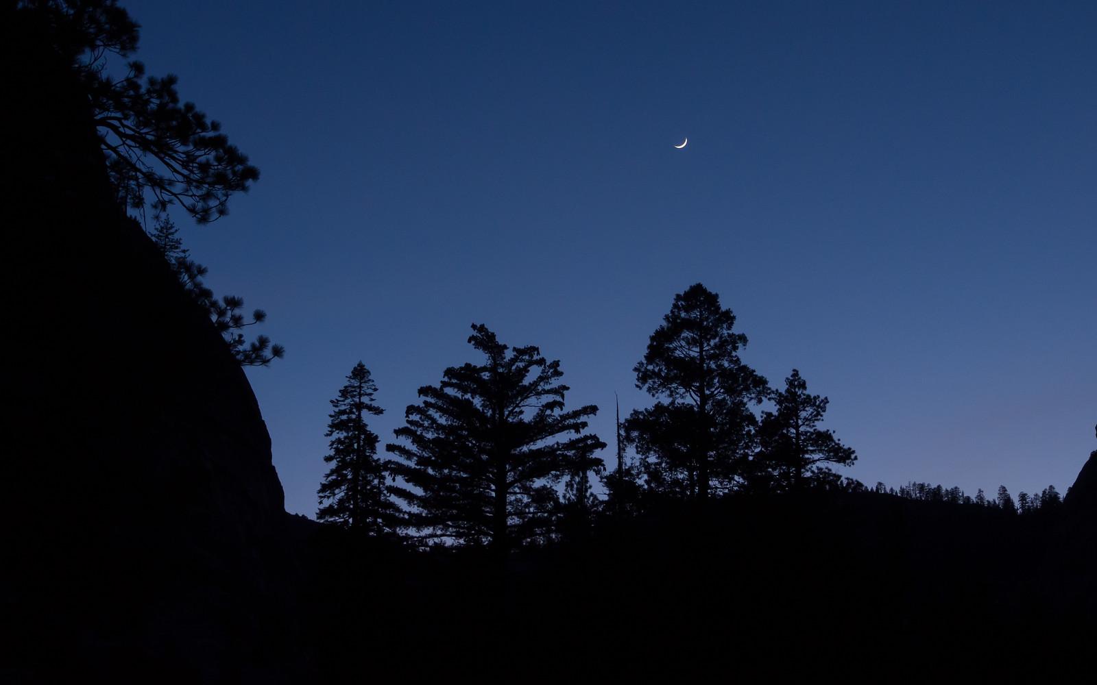 Moon over the Merced River Canyon, Yosemite National Park, USA, May 1, 2014