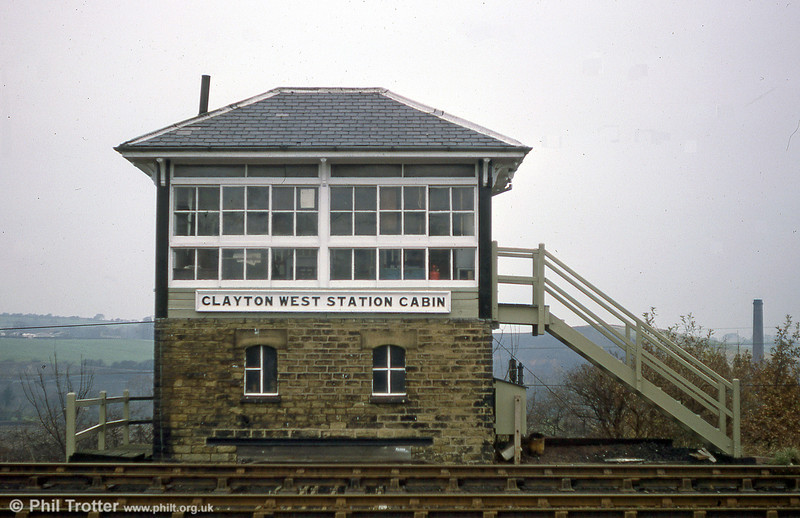 Clayton West 'box was a Lancashire & Yorkshire Railway design, opened in 1879. A new 20 lever frame was installed in 1961 and the box closed when the BR passenger service was withdrawn from the Clayton West branch in 1983. (17th November 1979).