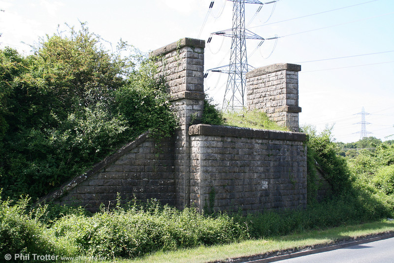 The abutments of a bridge which once carried the Cowbridge to Aberthaw line over the present day B4265, seen on 13th June 2010.