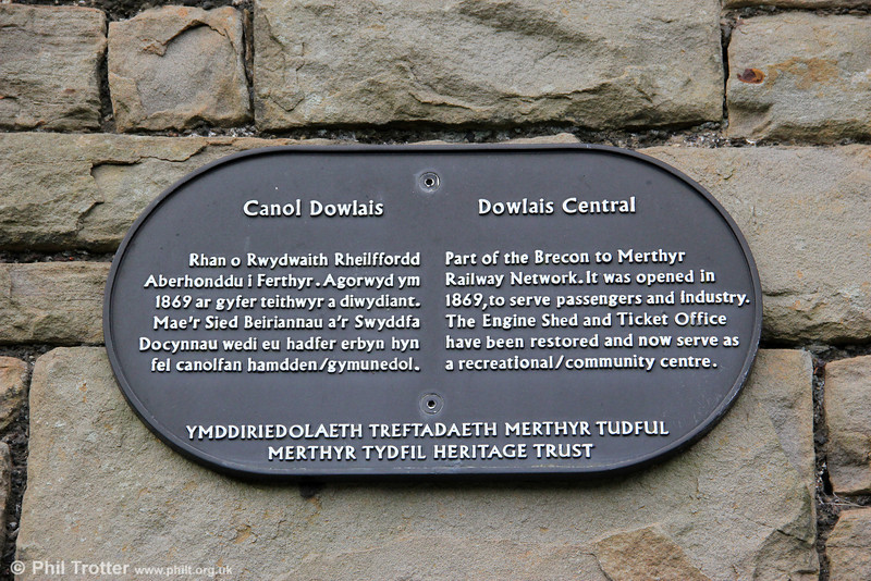 A plaque attached to the goods shed at Dowlais Central, which commemorates the building's original purpose. 17th March 2012.