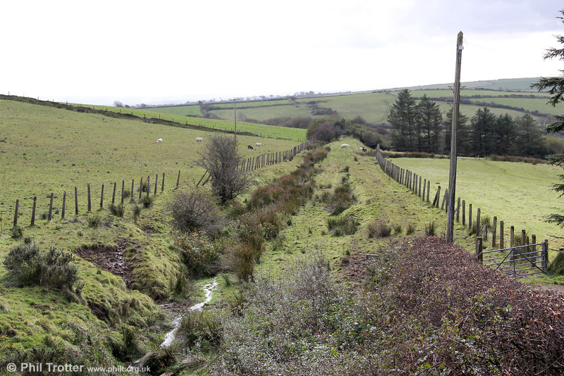 Trackbed of the Maenclochog Railway, looking towards Clunderwen, from the B4313 near Rosebush on 20th October 2012.