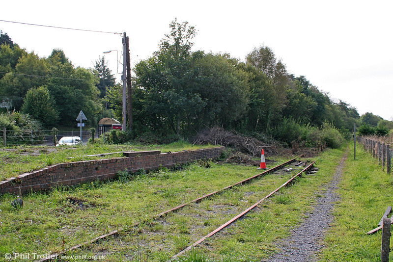 The remains of the station at Pontyates (looking towards Burry Port) on the Burry Port and Gwendraeth Valley Railway photographed on 19th September 2009. Passenger traffic ceased in 1953, but the line remained open for coal traffic until the local collieries closed in 1996.