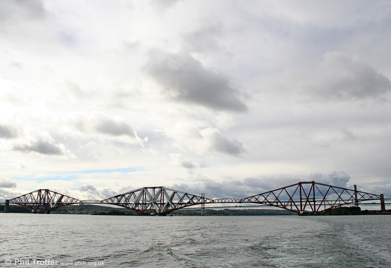 The Forth Bridge which crosses the Firth of Forth near Edinburgh was opened on 4th March 1890. It was designed by Sir John Fowler and Sir Benjamin Baker and is 1½ miles in length. At its peak, approximately 4,600 workers were employed in its construction although 98 lives were lost. This panoramic view was taken on 19th October 2010.
