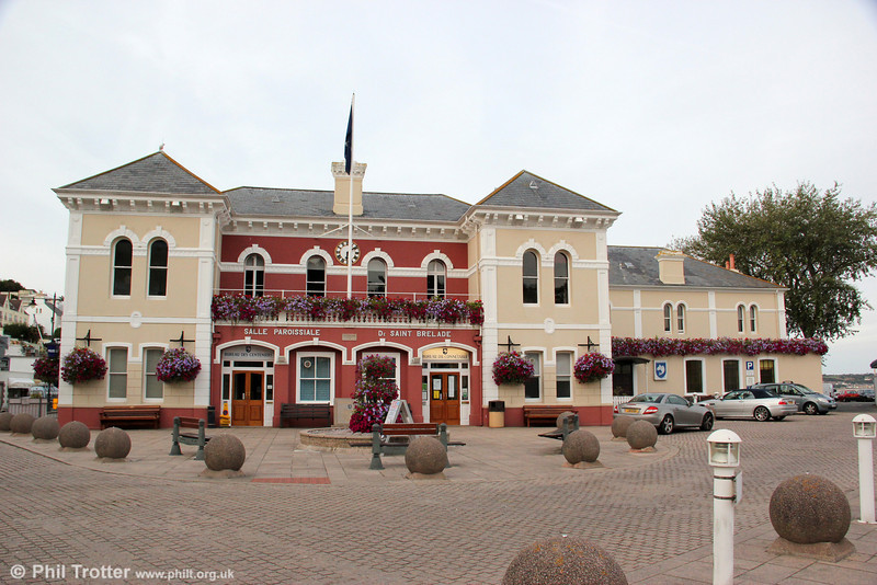 The former Jersey Railway terminus and station building at St. Aubin, now the Town Hall and police station as seen on 20th September 2012. When the line was extended to La Corbière, trains ran past the right hand side of the building and across the foreground (see next picture).
