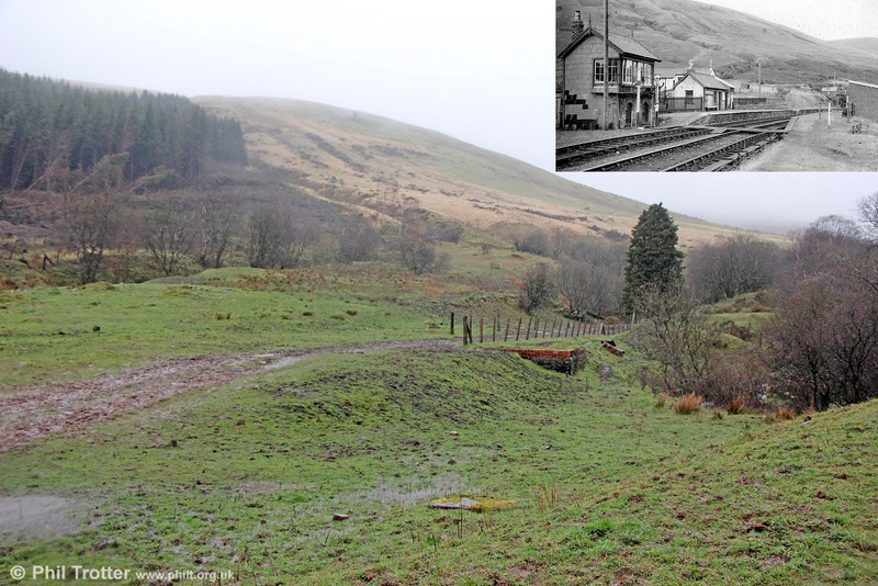 This is the site of the former Brecon & Merthyr Railway station at Torpantau (inset), looking towards Torpantau Tunnel which closed with the line in 1963. The brick base of the waiting shelter on the Merthyr platform can be seen centre-right. Legend has it that other buildings here were destroyed by the SAS as a training exercise. Torpantau was at the summit of the line and existed mainly for operational reasons, as a water stop for locomotives and to pin down the brakes of goods wagons.  Trains running towards Brecon then entered the 666 yard long Torpantau Tunnel. At 1313 feet above sea level, this was the highest railway tunnel in Great Britain. Spare a thought for those poor souls who had to work here during the winter months!  6th April 2014.