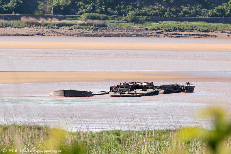 The remains of the 'Wastdale H' (right) and 'Arkendale H' in the River Severn near Purton. These were the two motor barges that on a foggy October night in 1960 collided with the bridge causing two spans to collapse into the river. 26th May 2012.