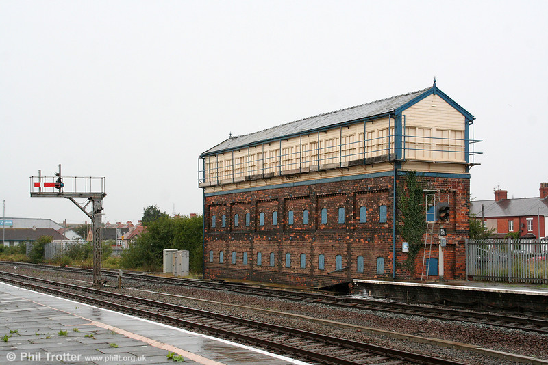 The boarded up London & North Western Railway Rhyl No. 2 signalbox on 3rd September 2008.