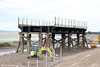 A new visitor attraction for West Wales: With work on the new Loughor Viaduct now completed, two spans of the original structure with three of the wooden trestles have been rebuilt on the west shore of the River Loughor, as seen here on 20th July 2013.