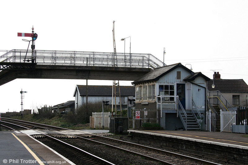 The signal box and semaphores at Ferryside, photographed on 9th March 2009.