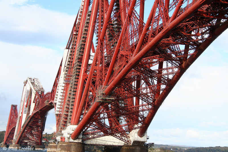 The Forth Bridge in close-up. The three great four-tower cantilever structures are 330ft tall, each 70ft diameter foot resting on a separate foundation. 19th October 2010.