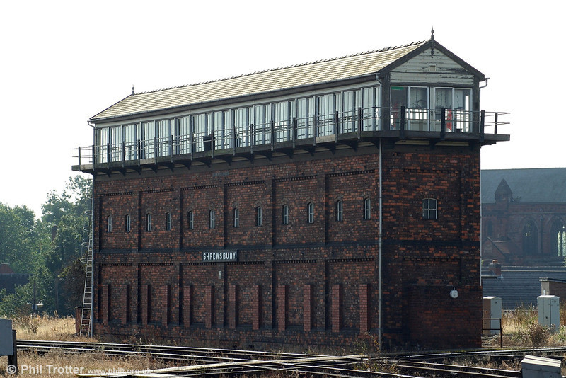 The magnificent Severn Bridge Junction Signal Box at Shrewsbury was built by the L&NWR and GWR in 1904. With 180 levers (not all now in use) this is the largest operational signal box in Europe. 9th September 2006.
