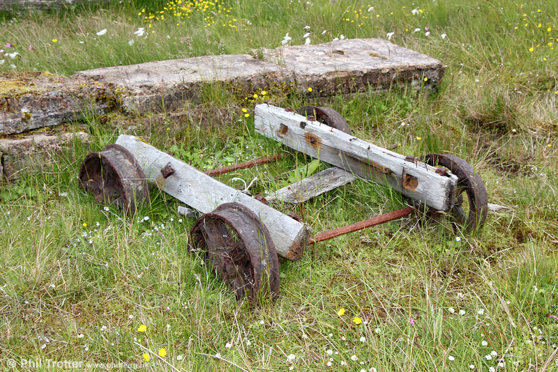 A closer look at the remains of what is possibly the last herring bogie at Heylor, Shetland on 9th July 2013. Although Shetland possessed no fully developed railways, there were once several trackways using wagons such as this to transport material between ships and the land.