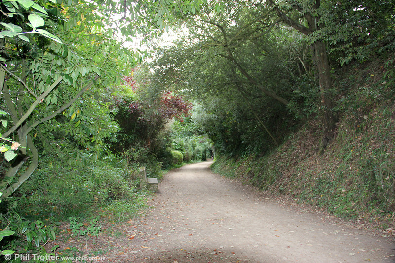 Part of the Jersey Railway trackbed looking north near Pont Marquet on 20th September 2012. The trackbed between St. Aubin and La Corbiere is now a cycle path/walk way.