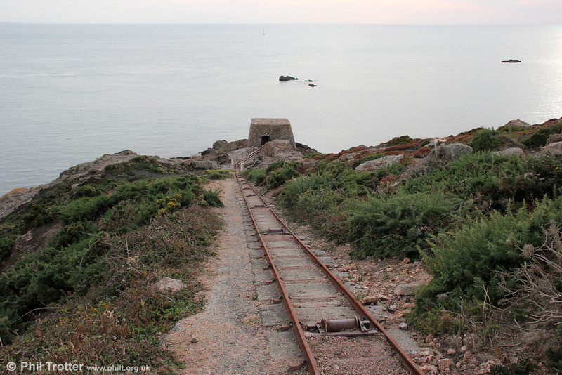A large quarry was opened in the pre-war years at La Moye, near La Corbière. This incline was used to carry dynamite used in the quarry from the store at the bottom of the cliff. 20th September 2012.