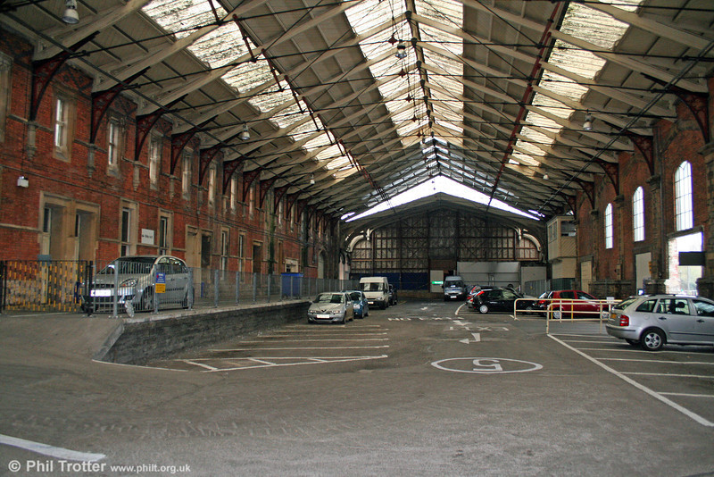 The interior of the 1878 Wyatt extension to the train shed of the Brunel terminus at Bristol Temple Meads. The  original is behinbd the far wall and  was built in 1839-41 for the GWR. 1st November 2008.